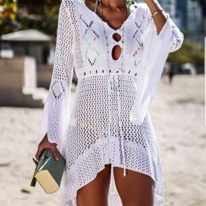 October Love White Lacey Look Swim Coverups